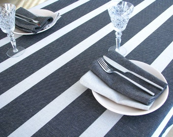 Linen Tablecloth / Striped / Black Stripes