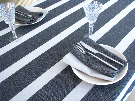 Linen Tablecloth Striped Black Stripes