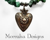 The Jaded Heart. OOAK antique pendant and gemstone necklace.