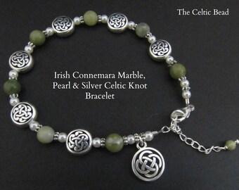 Irish Connemara Marble, Pearl & Silver Celtic Knot Bracelet