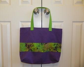 Embellished Purple Tote Bag