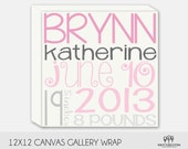 Personalized Birth Announcement Canvas Wall Art 12x12