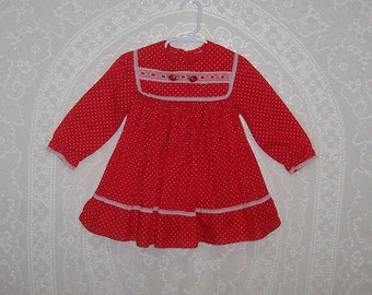 Size 24 months - Vintage Baby Dress - Red Pleated - White Lace