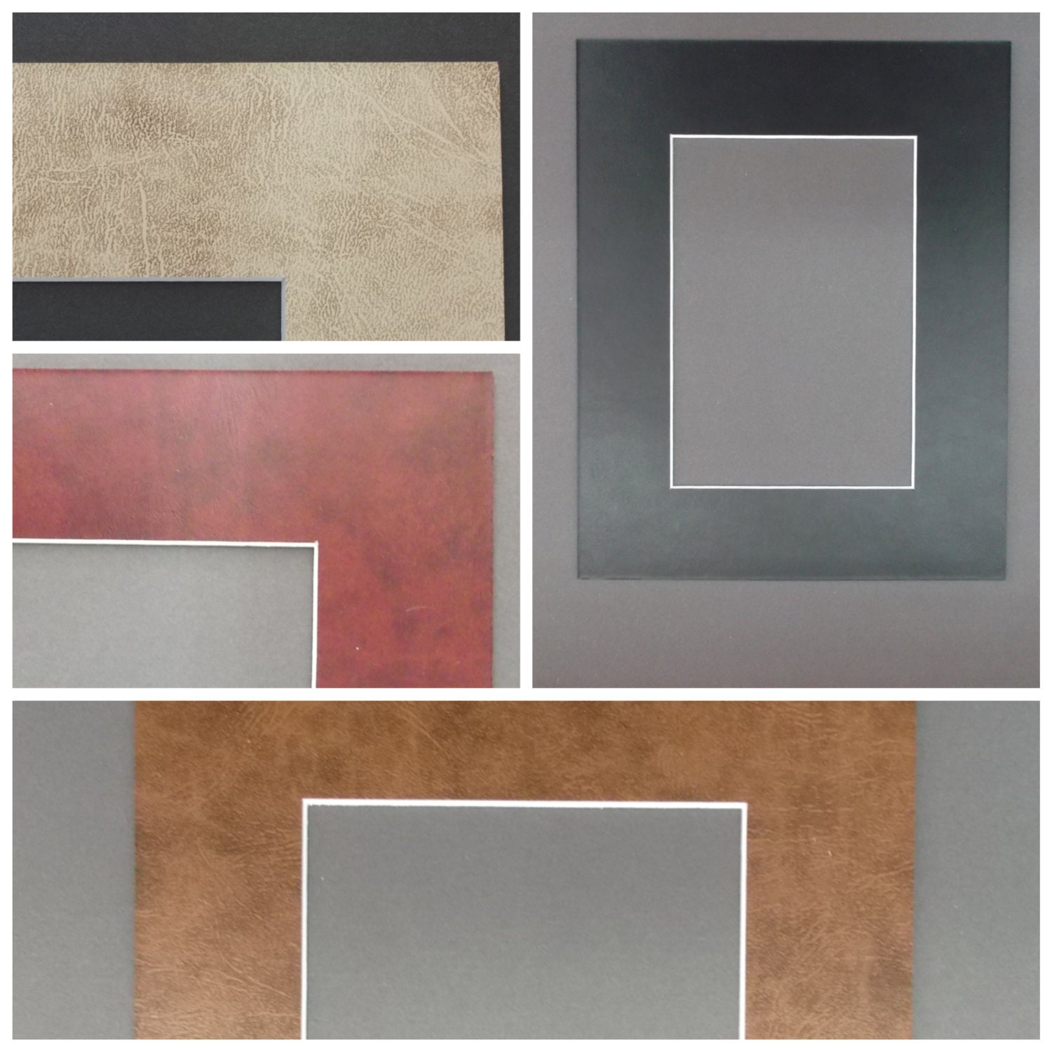 16x20 Leather Look Picture Mats With White Core Bevel Cut