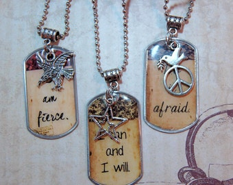 Affirmation Dog Tag Necklace for Graduates Custom Dog Tag Quote Your Personal Mantra Dog Tag in Matching Gift Tin for Friends Moms Dads