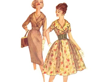 Vintage 1950s Sewing Pattern - Full or Slim Skirt Dress with Large Collar & Wide Midriff - Simplicity 3068, Bust 32, Uncut