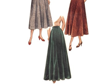 Vintage 1940s Sewing Pattern - Flared Skirt in Evening or Street Lengths - 1948 Simplicity 2666, Size XL, Waist 32, Uncut