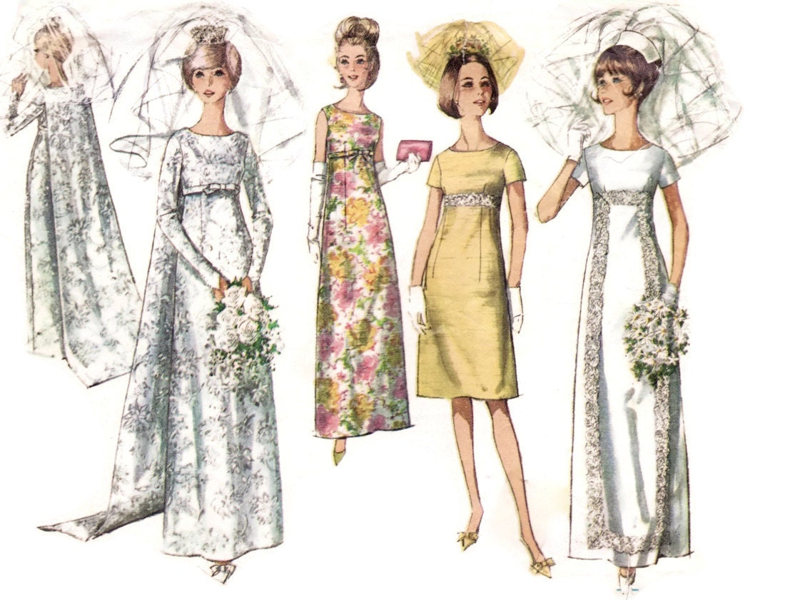 1960s Wedding Dress Pattern Simplicity 6352 Empire Waist
