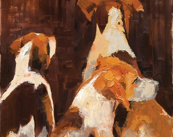 After the Chase - Hunting Dogs - Giclée Fine Art Print