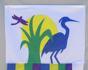Blue Heron and Dragonfly  Windsock 6 Ft  Ripstop Nylon spinnaker cloth