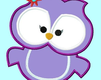 Cute Purple  Owl Applique Embroidery Design  4 sizes INSTANT DOWNLOAD