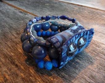 Blue Bead Cuff, 5 Strand Bracelet,  Fiber Boho Accessory, Versatile Jewelry
