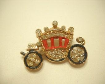 Vintage Enamel & Rhinestone Queen's Carriage (5833) Gold Tone