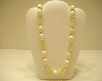 """Vintage 22"""" Pale Yellow Plastic Beaded Necklace (1967) Japan"""