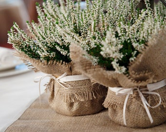 Usine de jute mariage wrap, idée de cœur floral de faveur parfaite - petite taille