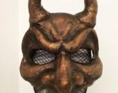 Diablo Too - masquerade mask - bronze mask - devil mask - horned mask - Halloween devil mask - Diablo devil mask - one of a kind mask