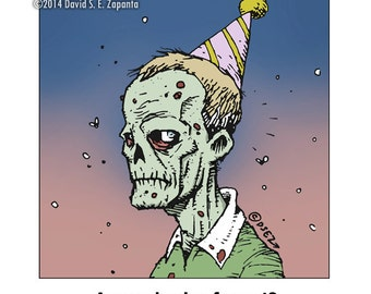 Melancholy Greetings - Zombie celebration / birthday card (blank inside)