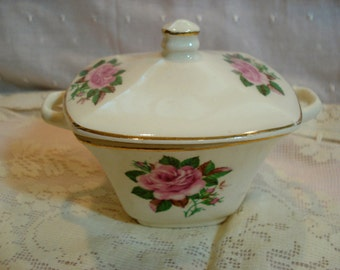 Vintage Sugar Bowl Pink Rose China Shabby Cottage Chic
