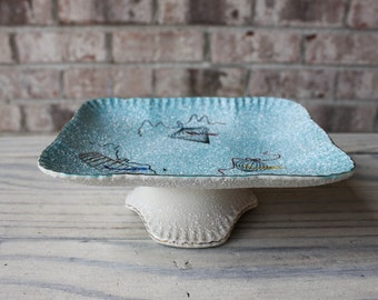 Mid century modern 1950s candy dish pedestal with birds and birdcages blue and white