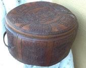 Tooled Leather Aztec Round Suitcase Luggage