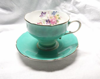 Paragon Green and Floral Teacup and Saucer