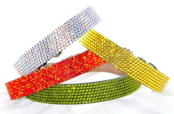 """Large 18-21"""" Crystal Rhinestone Leather pet collars w/ Swarovski Crystal Bling +70 Colors 1"""" wide Dog Pet Project brand by Glass Slippers"""