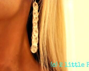 Art Jewelry ~ Handmade, Fine Silver Hammered Earrings, long