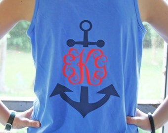 Nautical Anchor Monogrammed Tank Personalized Custom You choose colors!