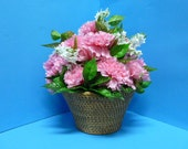 Floral Arrangement, Silk Floral Arrangement of Lovely Pink Carnations and Lillies of the Valley in a China Made Basket