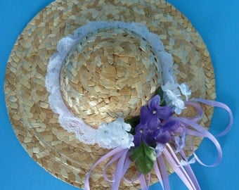Wall Hanging, Home Decor of a Straw Hat adorned with Lace, Purple and Lilac Flowers and Lilac Satin Ribbon