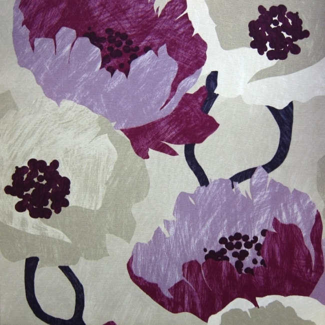 Modern Purple Floral Fabric By The Yard Lavender Curtain