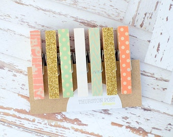 SALE! Washi Clothespins Set of 7 Mini Clothespins Mint Peach Gold White