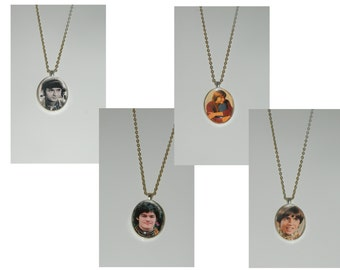 The Monkees Peter Mickey Mike Davy Glass Pendant Necklace Choice