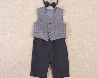 Baby boy ring bearer outfit boy baptism linen suit kids first birthday natural clothes rustic wedding beach grey formal SET of 3