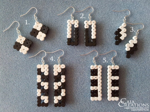 Black and white Hama bead earrings, geometric, nickel free