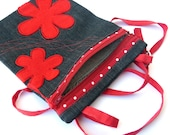 Sling Bag red flower Shoulder Purse Cross Body Bag Small messenger Travel Purse  for your next creations
