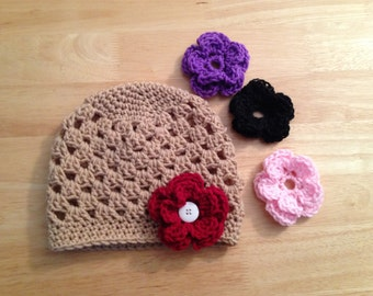 Spring/Summer  hat with removable flowers