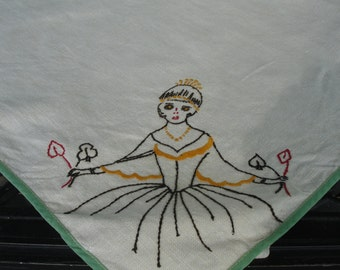 Hand Embroidered Linen Card Table hand made 1930s rare