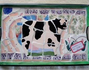 "MOSAIC COW TRAY / 18.5"" X 12"""