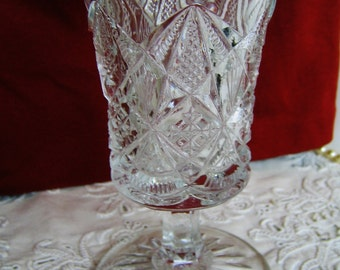 Antique EAPG WATER GOBLET Collectible Vintage 1890-1910 Early American Pattern Glass Gift Bridal