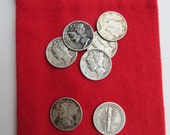 LEAP YEAR Mercury dime / Winged Liberty Head Dime, mojo pouch, dime and red flannel pouch (MD)