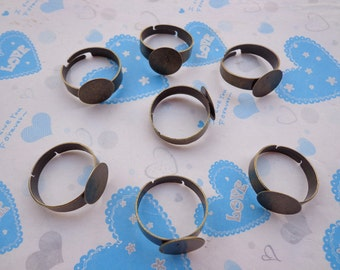 SALE--Ring--20 pcs Antique Bronze Ring Base Adjustable with 12 mm Round Pad
