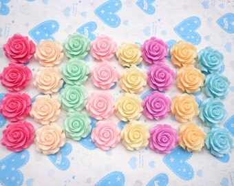 Resin Rose Flower--40 pcs Mixed color 28mm Rose Flowers Cabochons Cameo Base Setting