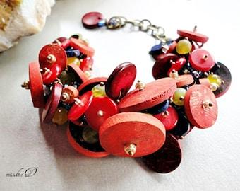 Red Cluster Bracelet, Red Coral Bracelet, Chunky Red Bracelet, Boho Red Bracelet, Mix Red Bracelet
