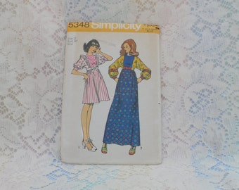 Simplicity Two Length Dress Pattern Misses Size 12 Bust 34 Uncut 1970's 5348