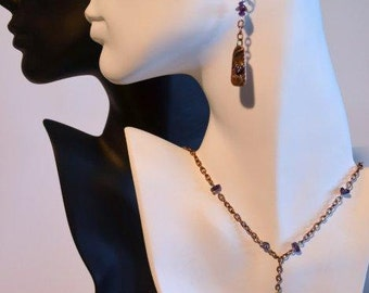 Bronze Steel and Amethyst Necklace and Earrings Set