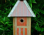 The Americana: Arts and Crafts/Mission Style Birdhouse Made of Reclaimed Barn Wood and Metal--MADE TO ORDER