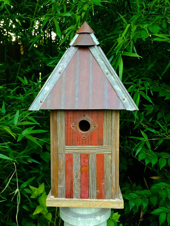 The americana arts and crafts mission style birdhouse made of for Metal arts and crafts