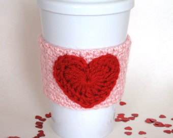 Crocheted Valentine's Heart Coffee Cup Cozy Pink and Red