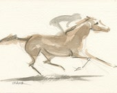 "Race Horse Art, Derby Galloping Racehorse, Original Watercolor Painting by Anna Noelle Rockwell-""Gathering Force"""